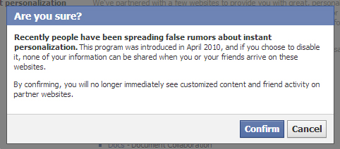 Facebook Instant Personalization Rumor Prompt