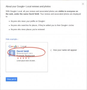 Google+ Write a Review Prompt