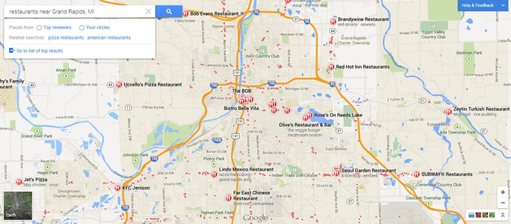 New Google Maps Grand Rapids Restaurants