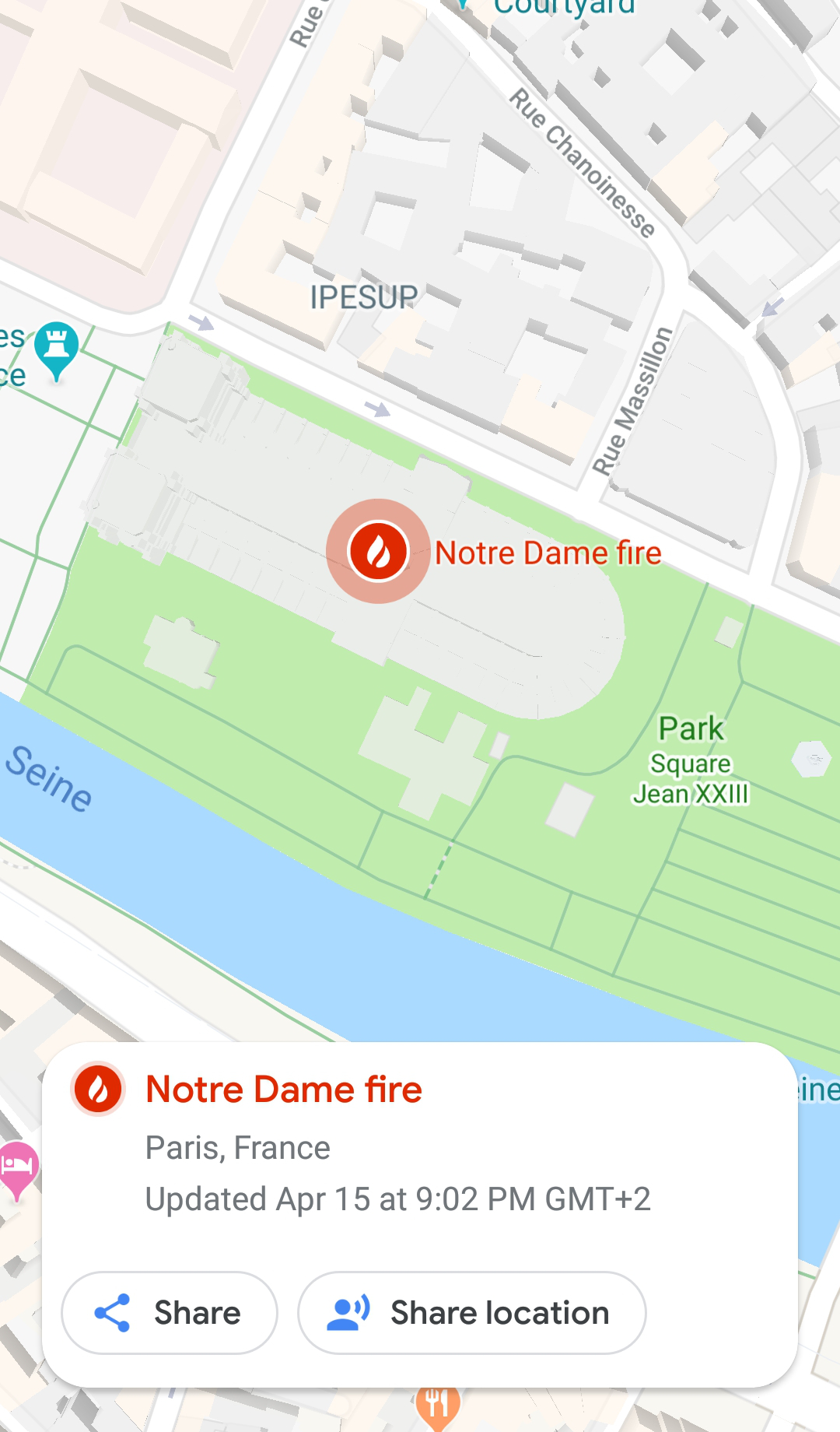 Notre Dame Fire Google Real Time Disaster Response