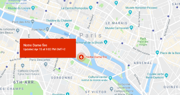 Notre-Dame Cathedral is On Fire. Here's how Google is Responding in Real-Time.